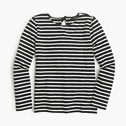 Striped T-shirt with bow-embellished back