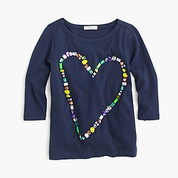 Girls' jewel heart T-shirt