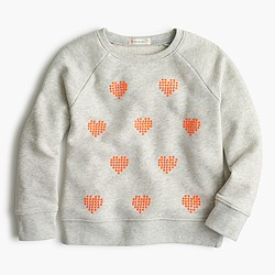 Girls' cluster heart popover sweater