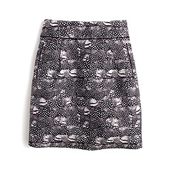Zip mini skirt in feather print