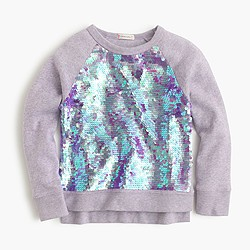 Girls' sequin-front popover sweatshirt