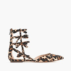 Leopard bow gladiator flats