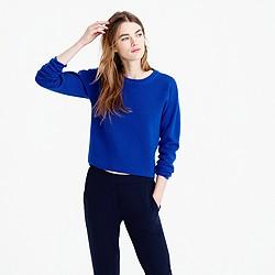 Back-zip crewneck sweater