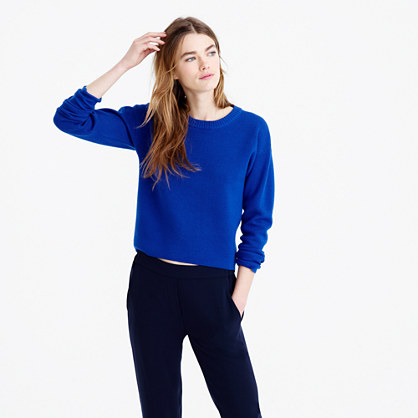 Back-zip crewneck sweater