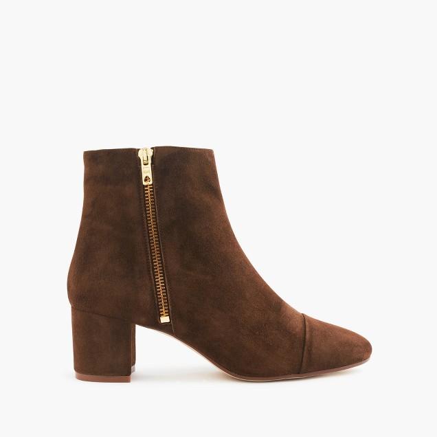 Suede side-zip boots