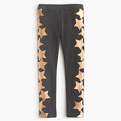 Girls' everyday leggings in metallic falling stars