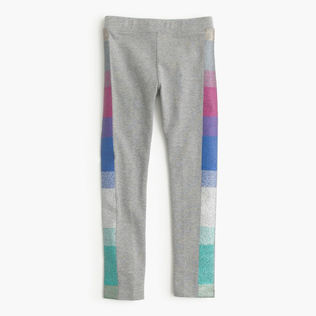Girls' everyday leggings with multi glitter tux stripe