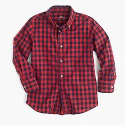 Boys' Secret Wash shirt in mini-buffalo check