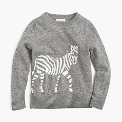 Girls' wool zebra popover sweater