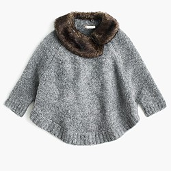 Girls' merino wool poncho with faux-fur collar