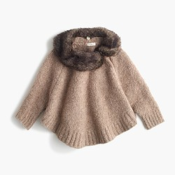 Girls' merino wool poncho with faux-fur collar