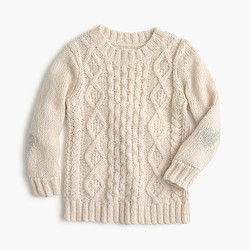Girls' heart cable sweater