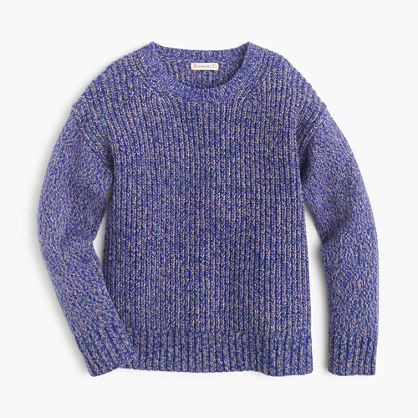 Girls' shimmery wool popover sweater