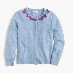 Girls' wool necklace cardigan