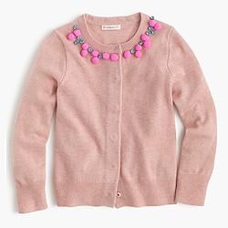 Girls' wool necklace cardigan