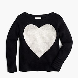 Girls' wool heart popover sweater