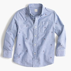Kids' embroidered shirt with skiers
