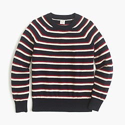 Boys' cotton-cashmere sweater in stripe