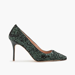 Elsie green sequin pumps