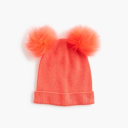 Girls' beanie with faux-fur pom-pom