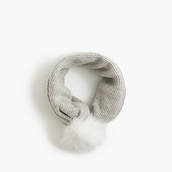 Girls' infinity scarf with faux-fur pom-pom