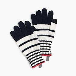 Girls' striped wool gloves