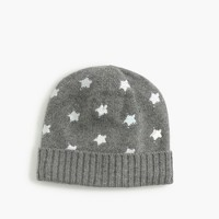 Girls' silver foil star beanie