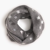 Girls' silver foil star infinity scarf