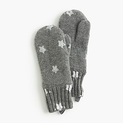 Girls' silver foil star mittens