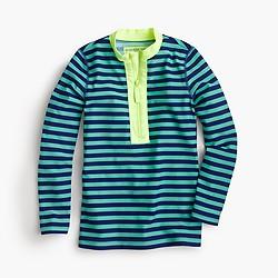 Girls' zipper rash guard in bright stripe