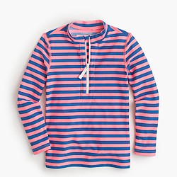 Girls' zipper rash guard in bright stripe
