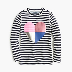 Girls' striped rash guard with foil heart