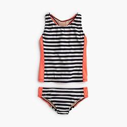 Girls' colorblock striped tankini set
