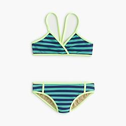 Girls' crossover bikini set in bright stripe