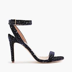 Velvet skinny-strap sandals