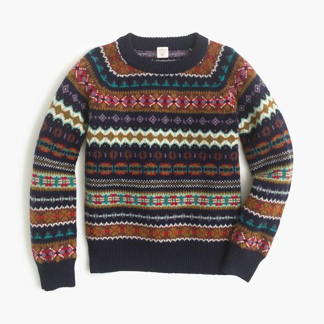 boys 39 classic fair isle sweater in lambswool j crew. Black Bedroom Furniture Sets. Home Design Ideas