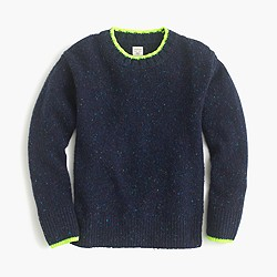 Boys' Donegal crewneck sweater with neon