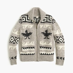 Kids' wool shawl zip cardigan sweater