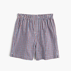Boys' yarn-dyed printed cotton boxers in plaid