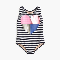 Girls' striped racerback one-piece swimsuit with foil heart