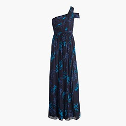 Cara long dress in nightshade floral silk chiffon