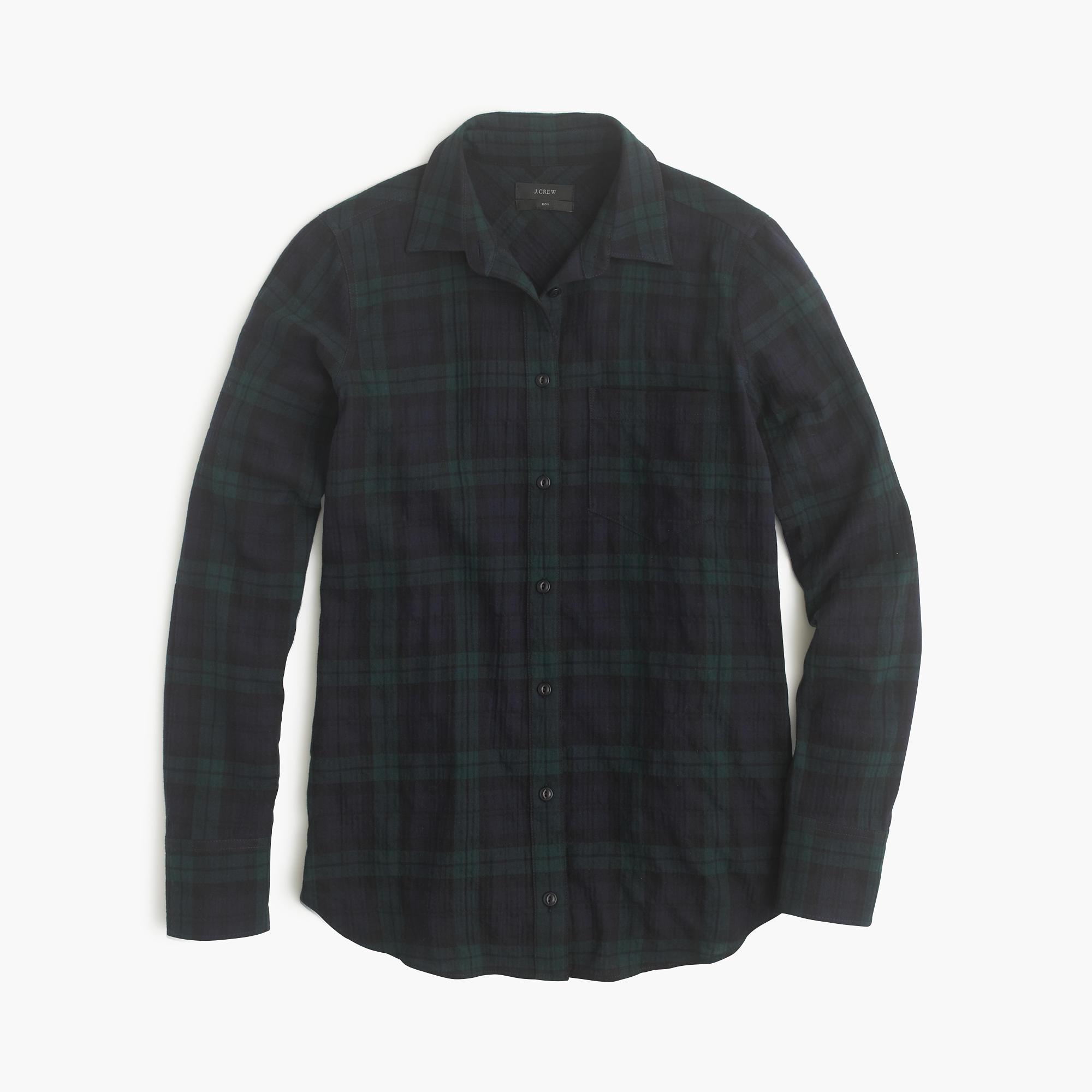 Boy shirt in black watch flannel j crew for Black watch plaid flannel shirt
