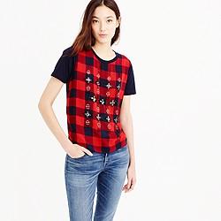 Embellished tartan T-shirt
