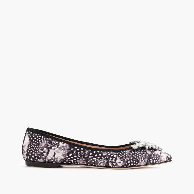 Collection Gemma jeweled feather-print flats