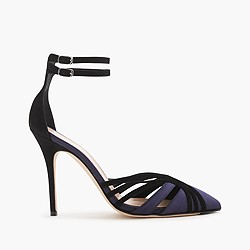 Collection Roxie suede and satin ankle-strap pumps