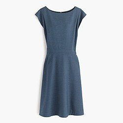 Petite cap-sleeve dress in Super 120s wool
