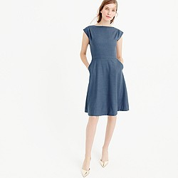 Petite cap-sleeve dress in Super 120s wool