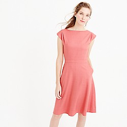 Cap-sleeve dress in Super 120s wool