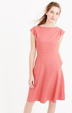 Cap-sleeve dress in Super 120s wool