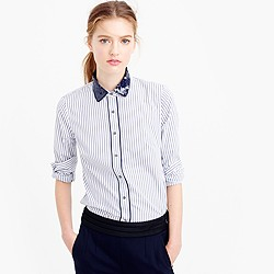 Petite perfect shirt in stripe with sequin collar